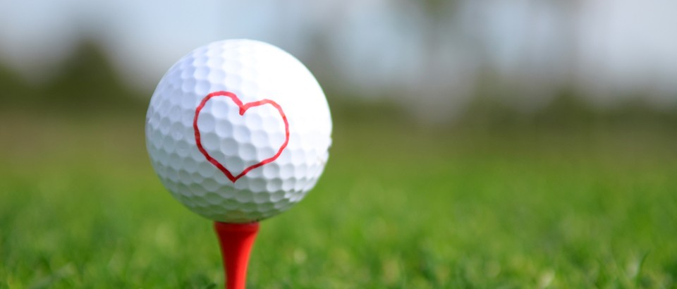 golf ball with heart